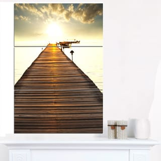 Large Boardwalk Glowing in Sunlight - Large Sea Bridge Canvas Art Print