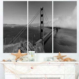Golden Gate Bridge in Gray Panorama - Sea Bridge Canvas Wall Artwork