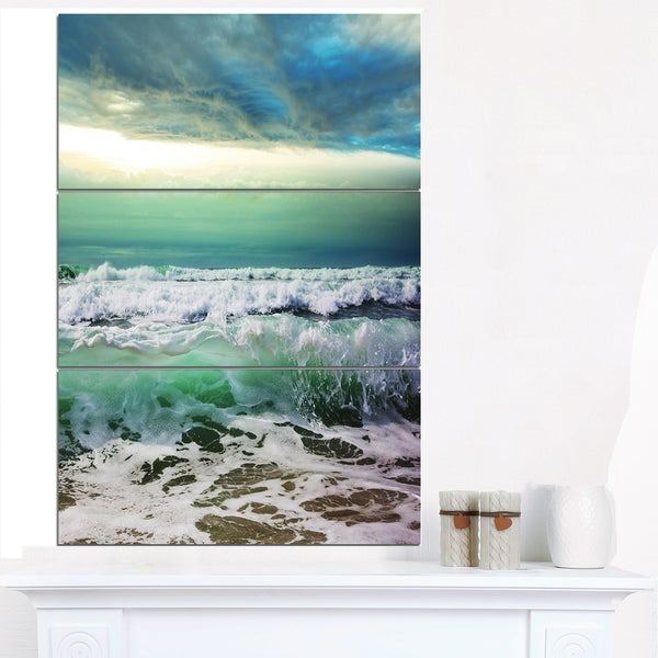 Green Foaming Waves and Blue Sky - Large Seashore Canvas Print