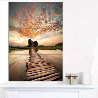 Makeshift Wooden Pier Over River - Sea Bridge Canvas Wall Artwork