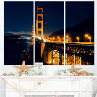 Golden Gate at Night - Sea Bridge Canvas Wall Artwork