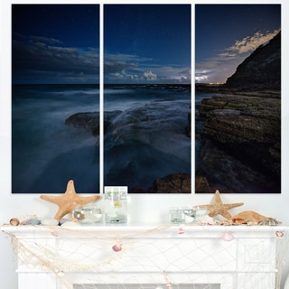 Rocky Blue Ocean at Nighttime - Large Seashore Canvas Print