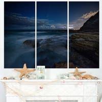 Rocky Blue Ocean at Nighttime - Large Seashore Canvas Print