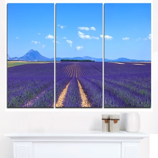 Lavender Blooming Fields and Trees - Oversized Landscape Wall Art Print