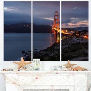Golden Gate with Night Illumination - Sea Bridge Canvas Wall Artwork