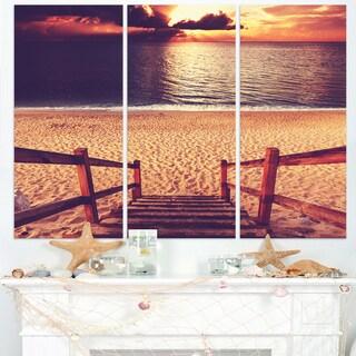 Wood Boardwalk in Beach at Evening - Large Sea Bridge Canvas Art Print