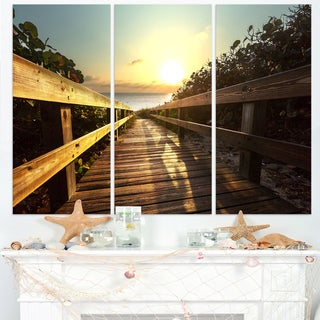 Wood Boardwalk into the Sunset Sea - Large Sea Bridge Canvas Art Print