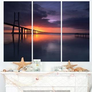 Vasco Da Gama Bridge Portugal - Sea Pier and Bridge Wall Art Canvas
