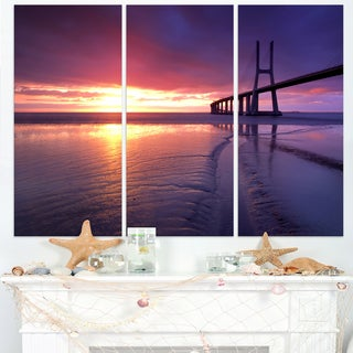 Colorful Vasco Da Gama Bridge - Sea Pier and Bridge Wall Art Canvas
