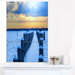 Fantastic Blue Boardwalk and Seashore - Large Sea Bridge Canvas Art Print