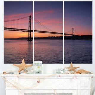 Wonderful View of Lisbon Bridge - Sea Pier and Bridge Wall Art Canvas