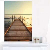 Strong Wooden Boardwalk into Sea - Large Sea Bridge Canvas Art Print