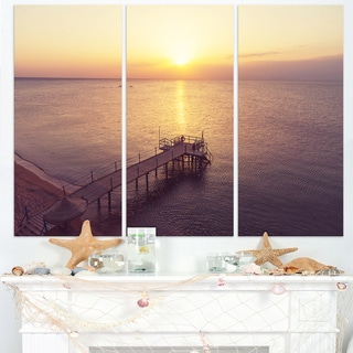 Boardwalk over the Beach at Sunset - Large Sea Bridge Canvas Art Print