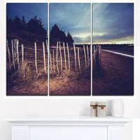 Old Fence on Beach at Sunset - Landscape Art Canvas Print - Green