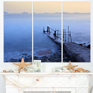 Abandoned Pier into Blue Sea - Sea Bridge Canvas Wall Artwork