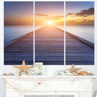 Wooden Pier to Bright Evening Sun - Sea Bridge Canvas Wall Artwork