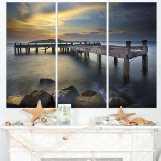 Old Wood Boat Jetty into Blue Sea - Sea Bridge Canvas Wall Artwork