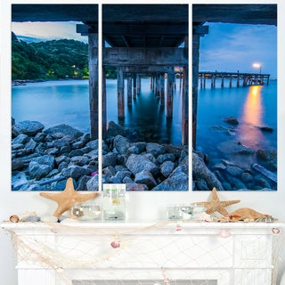 Under Wood Bridge at Twilight - Sea Bridge Canvas Wall Artwork