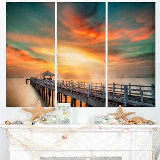Wooden Bridge under Colorful Sky - Sea Bridge Canvas Wall Artwork