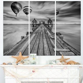 Wood Bridge in Port between Sunrise - Sea Bridge Canvas Wall Artwork