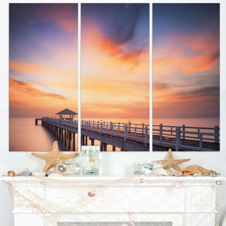 Infinite Wooden Bridge under Clouds - Sea Bridge Canvas Wall Artwork