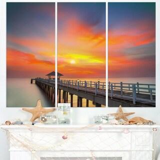 Wooden Bridge under Yellow Sky - Sea Pier Wall Art Canvas Print