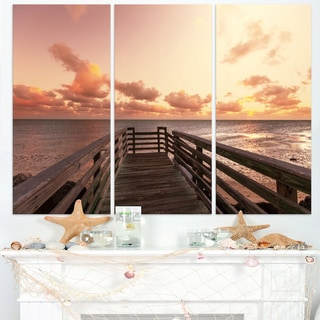 Boardwalk on Beach Wooden Pier - Sea Bridge Canvas Wall Artwork