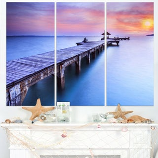 Wooden Bridge over Blue Waters - Sea Pier Wall Art Canvas Print