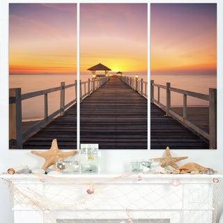 Wide Wooden Bridge into the Sea - Sea Pier Wall Art Canvas Print