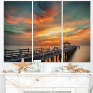Colorful Sky and Long Wooden Pier - Sea Pier Wall Art Canvas Print