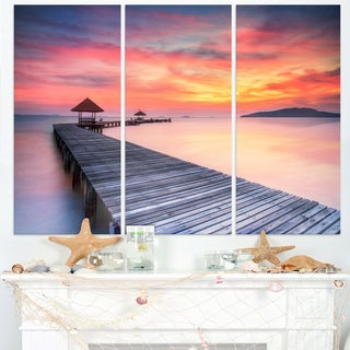 Stylish Wooden Bridge and Beach Sky - Sea Pier Wall Art Canvas Print