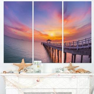 Wooden Bridge Long Into the Ocean - Sea Pier Wall Art Canvas Print
