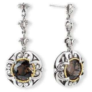 Avanti Sterling Silver and 18K Yellow Gold Flower Design Smoky Quartz Dangle Earrings