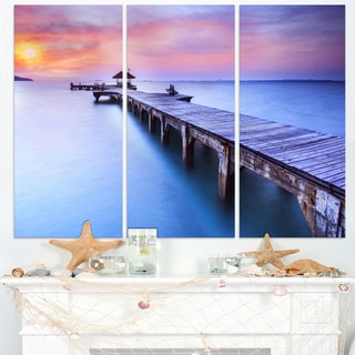 Beach with Blue Waters and Wood Bridge - Sea Pier Wall Art Canvas Print