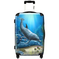 iKase 'The World of The Dolphins' ,Check-in 24-inch .Hardside Spinner Luggage
