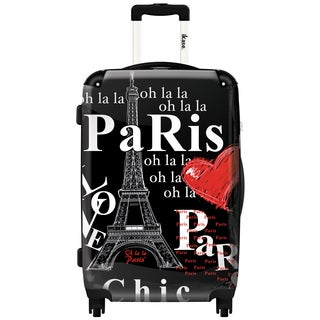 iKase 'Eiffel Tower Paris' Check-in 24-inch,Hardside Spinner Suitcase
