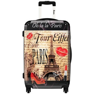 iKase 'Eiffel Tower Kiss' Check-in 24-inch,Hardside Spinner Suitcase