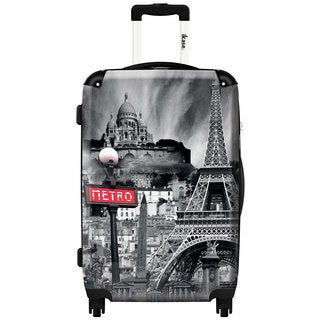 iKase 'Oh la la Paris Metro' Check-in 24-inch,Hardside Spinner Suitcase