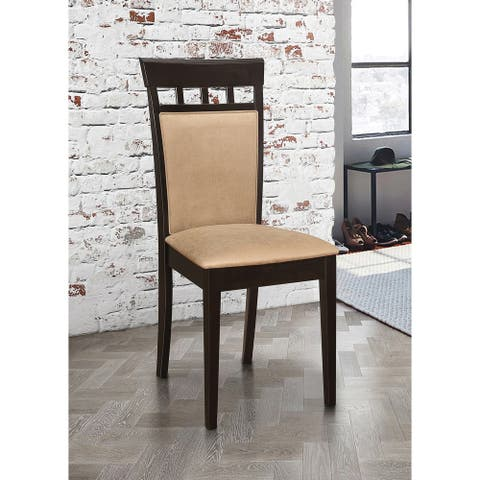 Upholstered Back Panel Side Chairs Cappuccino and Beige (Set of 2)