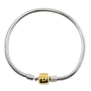 De Buman 10k Yellow Gold and 925 Silver 7.48-inch Charm Bracelet