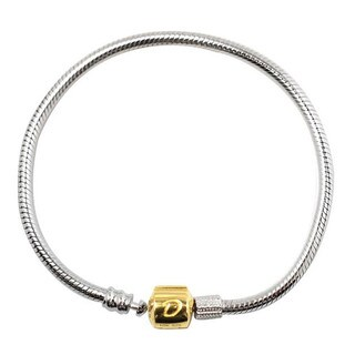 De Buman 10k Yellow Gold and 925 Silver 7.48-inch Charm Bracelet