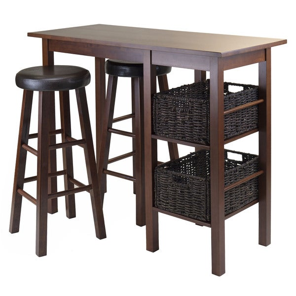 Egan 5pc Breakfast Table with 2 Baskets and 2 Swivel Seat PVC Stools