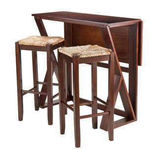 Winsome Harrington 3-Piece Drop Leaf Dining Table Set with 2 Stools