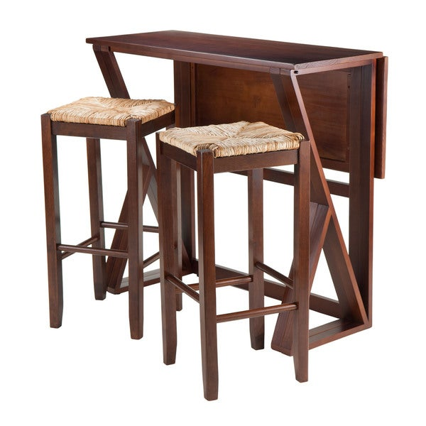 3 piece drop leaf dining set three winsome harrington 3piece drop leaf dining table set with stools shop