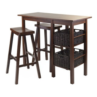 Winsome Egan 5-Piece Breakfast Table and Stool Set with 2 Foldable Baskets