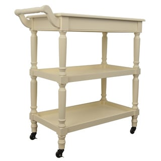 Decor Therapy Wood Rolling Bar Cart With Open Storage