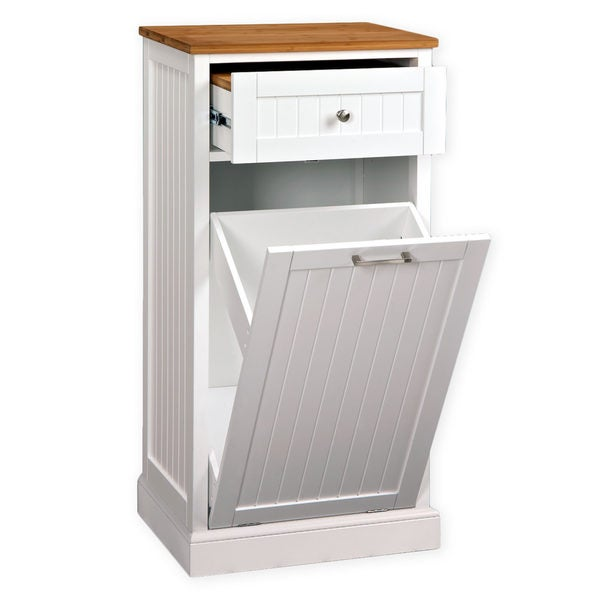 Charmant White Wooden Microwave Kitchen Cart With Hideaway Trash Can Holder