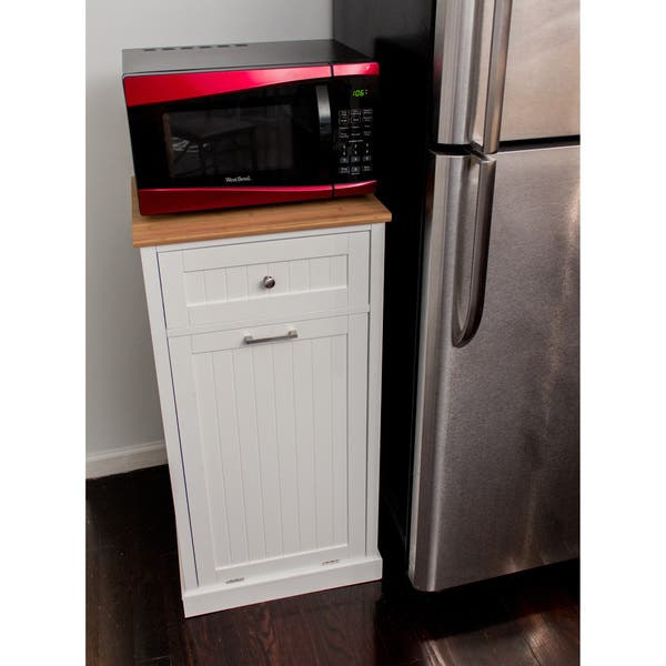 Shop White Wooden Microwave Kitchen Cart with Hideaway Trash ...