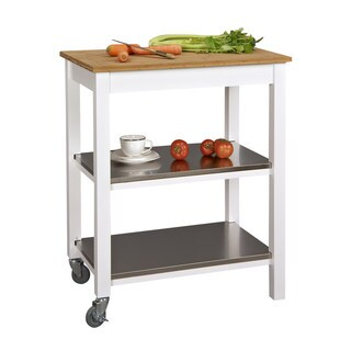 Bamboo Countertop 3-tier Stainless Steel Kitchen Island