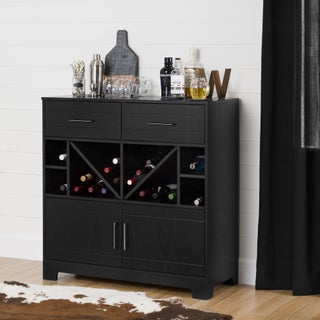 South Shore Vietti Bar Cabinet with Bottle Storage and Drawers (Option: Black - Black Finish)